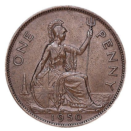 1950 George VI Penny in VF Condition