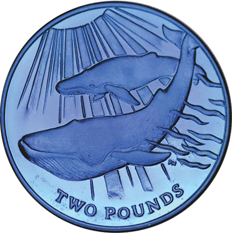 2013 Blue Titanium Two Pound Blue Whale Coin