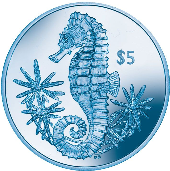 2014 British Virgin Island Titanium Blue Seahorse $5 Coin
