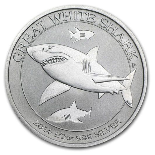 2014 Silver Great White Shark Half Ounce Coin