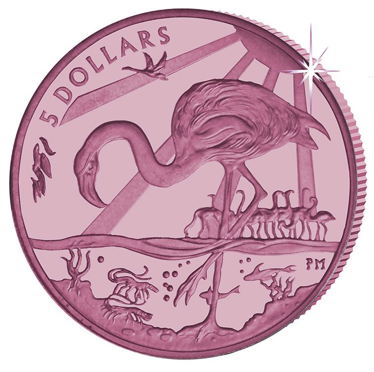 2015 British Virgin Island Queen Elizabeth II Pink Flamingo $5