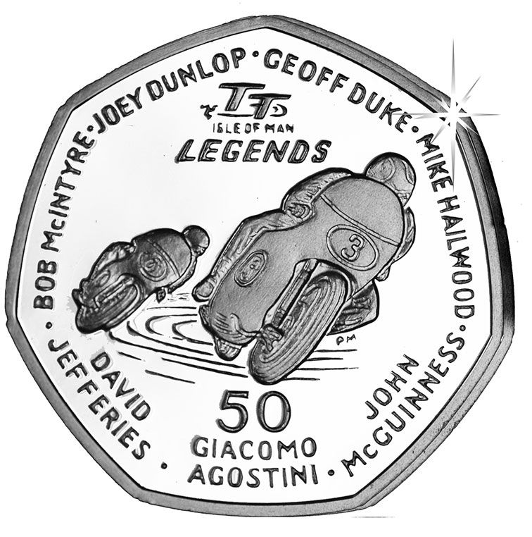 2015 I.O.M TT Race Legends 50 Pence