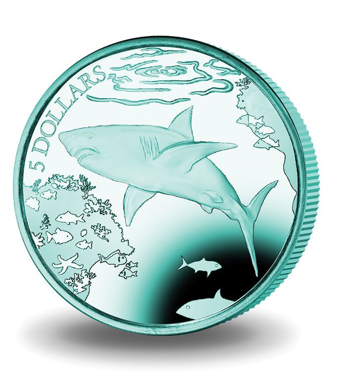 2016 B.V.I Titanium Turquoise Great White Shark Coin