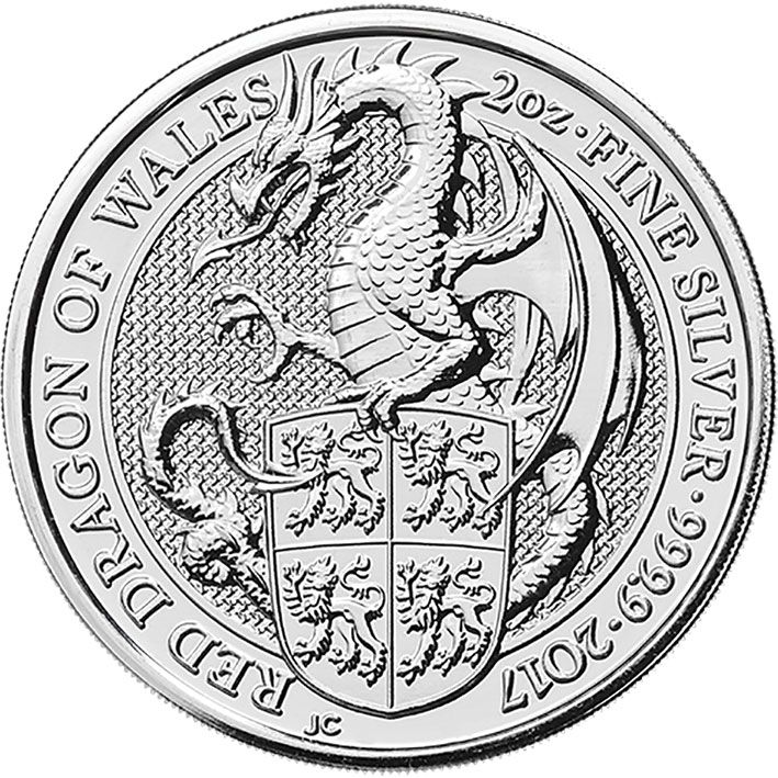 2017 Queens Beast Silver 2oz Dragon £5 coin