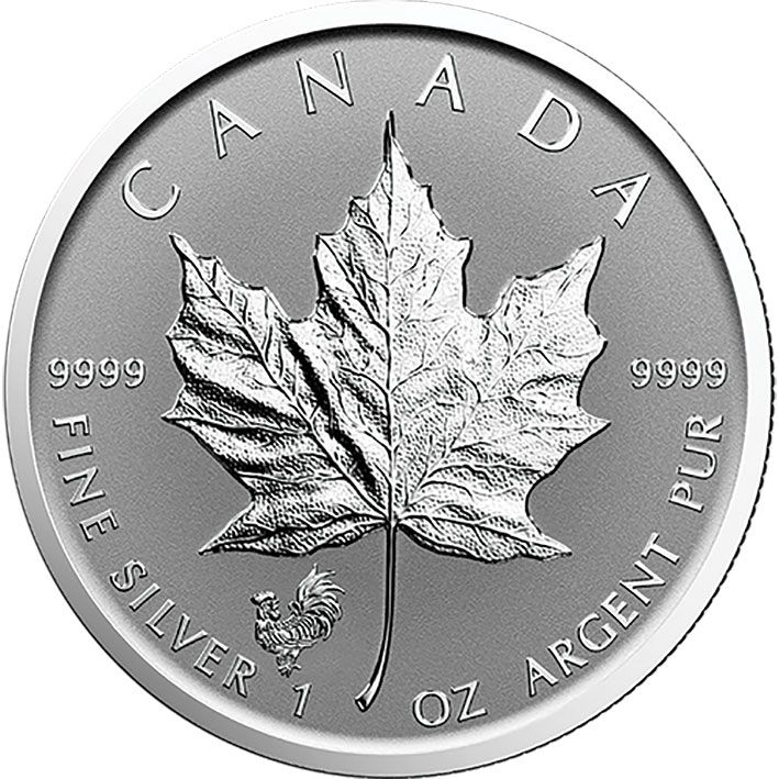 2017 Silver 1oz Canadian Maple leaf with Rooster MM
