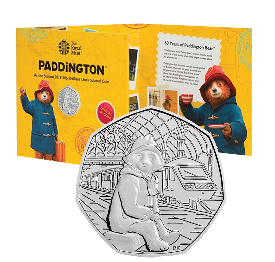 2018 Paddington Bear 50p Brilliant Uncirculted