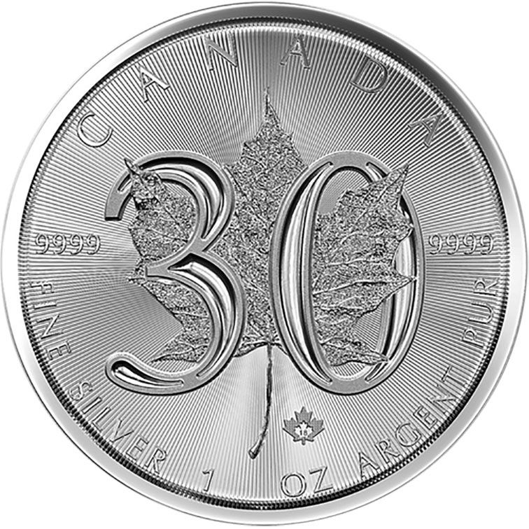 2018 Silver 1oz Silver 30th Anniversary Maple