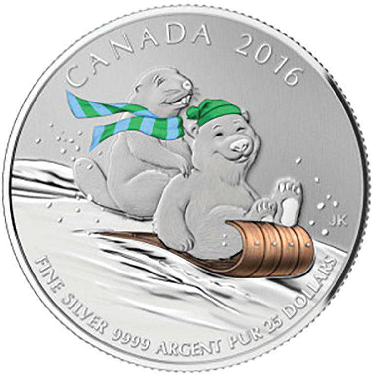 Canadian Silver Winter Fun $25 Coin