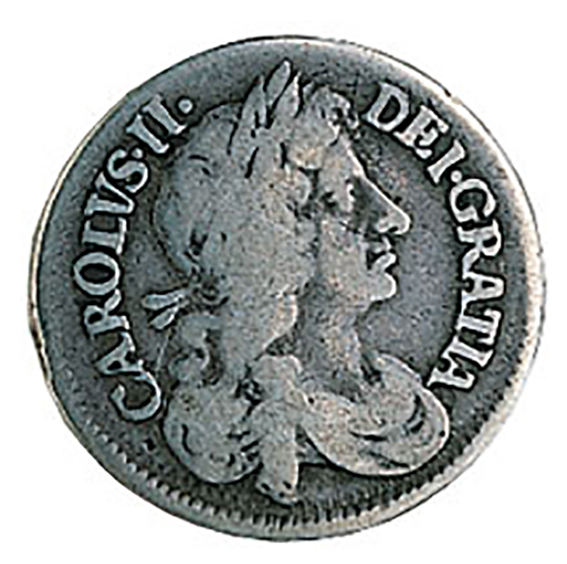 Charles II Silver Groat 1660-1685 In VF Condition