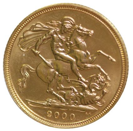 Elizabeth II 2000 George and Dragon Reverse Half Sovereign