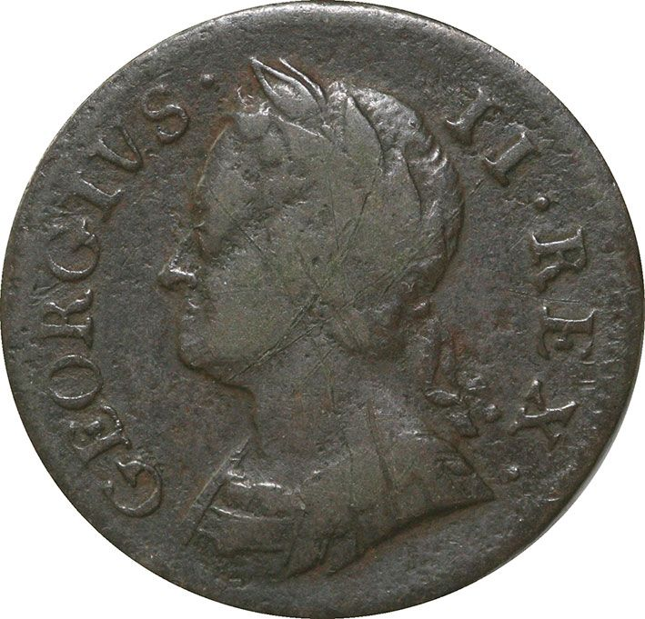 George II Copper Farthing Fine 1730-54