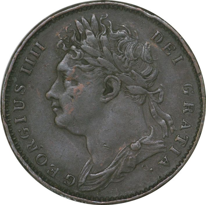 King George IV Farthing 1825/6 2nd Issue VF Condition