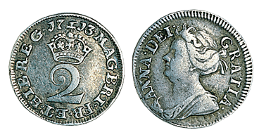 Queen Anne Twopence 1702 -1714 in VF Condition