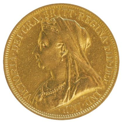 Queen Victoria Old Head Gold Two Pounds 1893