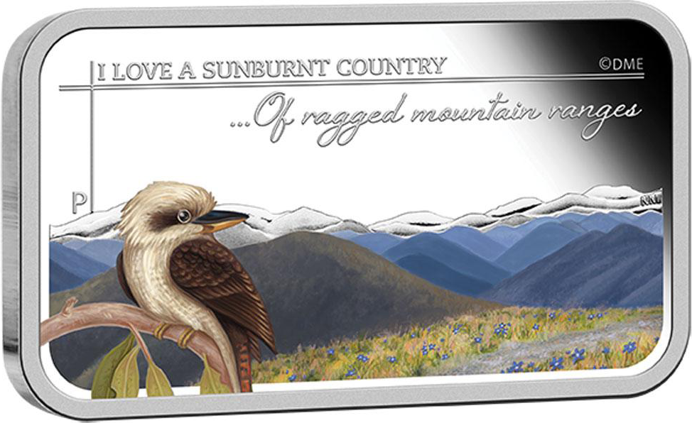 Sunburnt City 2015 Ragged Mountain Range 1oz Coloured Silver Bar